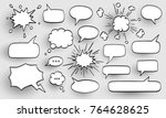 set of speech bubbles. halftone ... | Shutterstock .eps vector #764628625