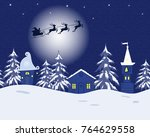 fairy tale winter landscape.... | Shutterstock . vector #764629558