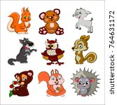set of cute illustration of... | Shutterstock .eps vector #764631172