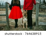 holiday couple with dog and red ... | Shutterstock . vector #764638915