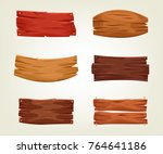 set of colorful wooden boards.... | Shutterstock .eps vector #764641186