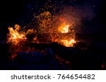 burning woods with firesparks ... | Shutterstock . vector #764654482
