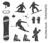 set of winter sports equipment  ... | Shutterstock .eps vector #764654692