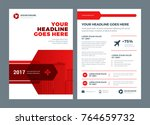red brochure annual report... | Shutterstock .eps vector #764659732