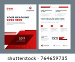 red brochure annual report... | Shutterstock .eps vector #764659735