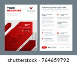 red brochure annual report... | Shutterstock .eps vector #764659792