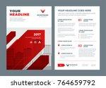 red brochure annual report... | Shutterstock .eps vector #764659792
