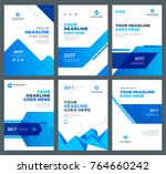 blue brochures annual reports... | Shutterstock .eps vector #764660242