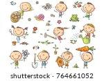 doodle kids in the garden ...   Shutterstock .eps vector #764661052