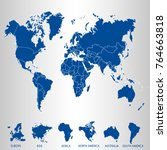 world map. set of color pointers | Shutterstock .eps vector #764663818