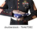 Marine In Dress Blues Holding...