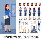 bank cashier woman character... | Shutterstock .eps vector #764676736