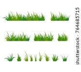 set of green tufts grass ... | Shutterstock .eps vector #764685715