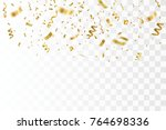 golden confetti isolated.... | Shutterstock .eps vector #764698336