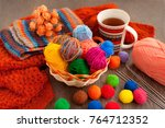 knitting in a cozy atmosphere....   Shutterstock . vector #764712352