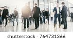 people visit a trade show ... | Shutterstock . vector #764731366