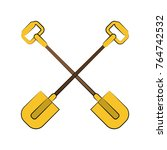 shovels crossed symbol | Shutterstock .eps vector #764742532