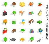 biology icons set. isometric... | Shutterstock .eps vector #764743462