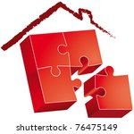 puzzle roofed house hand drawn | Shutterstock .eps vector #76475149