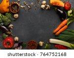 frame of fresh organic... | Shutterstock . vector #764752168