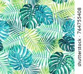 tropical leaf design featuring... | Shutterstock .eps vector #764755408