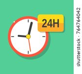 open 24 hours a day icon flat.... | Shutterstock .eps vector #764764042