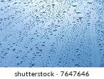 Water Drops On Car Hood. Blue...