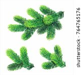 fir branches isolated on white. ...   Shutterstock .eps vector #764765176