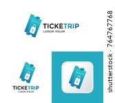 ticket trip travel company with ... | Shutterstock .eps vector #764767768