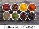 collection of indian spices in... | Shutterstock . vector #764781616