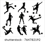 woman soccer football icon logo ... | Shutterstock .eps vector #764782192