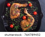 grilled chicken legs with... | Shutterstock . vector #764789452