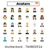 avatars flat design icon set. | Shutterstock .eps vector #764803516