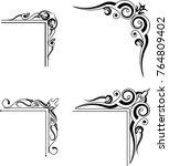 calligraphic decorative corner... | Shutterstock .eps vector #764809402