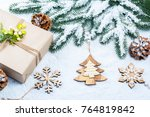 christmas frame with gift  the... | Shutterstock . vector #764819842