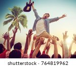 young man with a guitar... | Shutterstock . vector #764819962