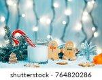 christmas gingerbread and milk... | Shutterstock . vector #764820286