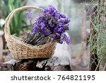 dried statice flower in basket... | Shutterstock . vector #764821195