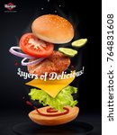 jumping burger ads  delicious... | Shutterstock . vector #764831608