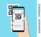 qr code scanning with mobile... | Shutterstock .eps vector #764833612