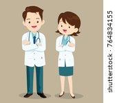 smart doctor presenting in... | Shutterstock .eps vector #764834155