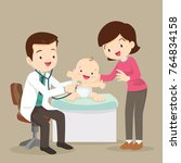 mom and baby in doctor's office.... | Shutterstock .eps vector #764834158