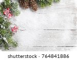 christmas background with snow... | Shutterstock . vector #764841886