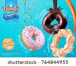 tasty donut ads  rich toppings... | Shutterstock .eps vector #764844955