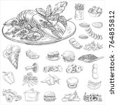 food and seafood hand drawn... | Shutterstock .eps vector #764855812