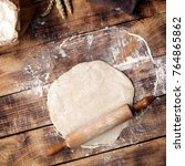 roll out dough with rolling pin ... | Shutterstock . vector #764865862