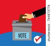 hand putting voting paper in...   Shutterstock .eps vector #764873776