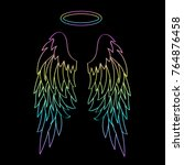 beautiful angel wings with a... | Shutterstock .eps vector #764876458