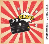 clapperboard with clap word on... | Shutterstock .eps vector #764877316