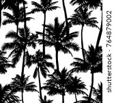 black vector palm trees... | Shutterstock .eps vector #764879002